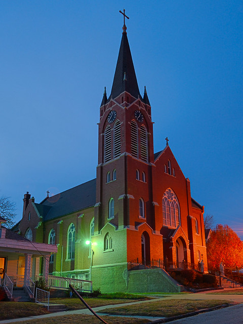 Saint Mary Roman Catholic Church, in Glasgow, Missouri, USA - exterior at night