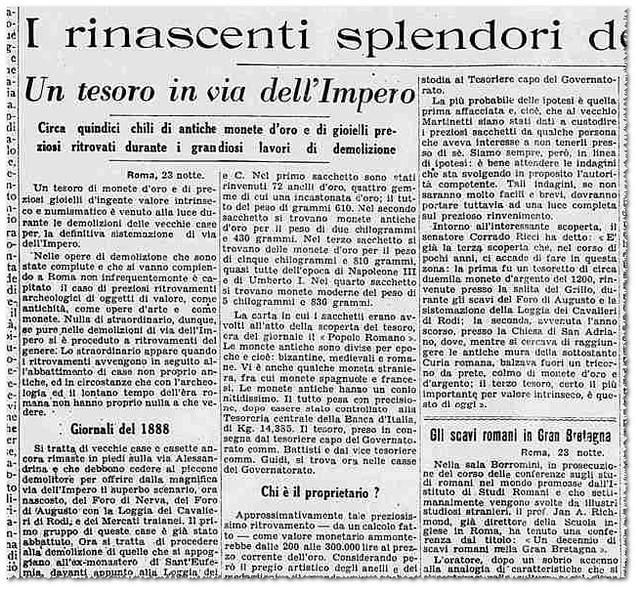 ROMA ARCHEOLOGICA - Un Tesoro in via dell' Impero / Via Alessandrina n. 101 - antiche monete d' oro. LA STAMPA (24/02/1933), p. 3 [PDF p. 1].