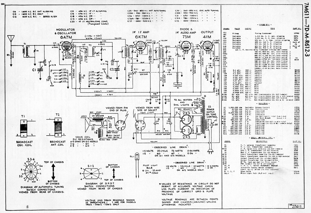 deforest crosley 7d613 schematic - a photo on flickriver gm radio wiring diagrams