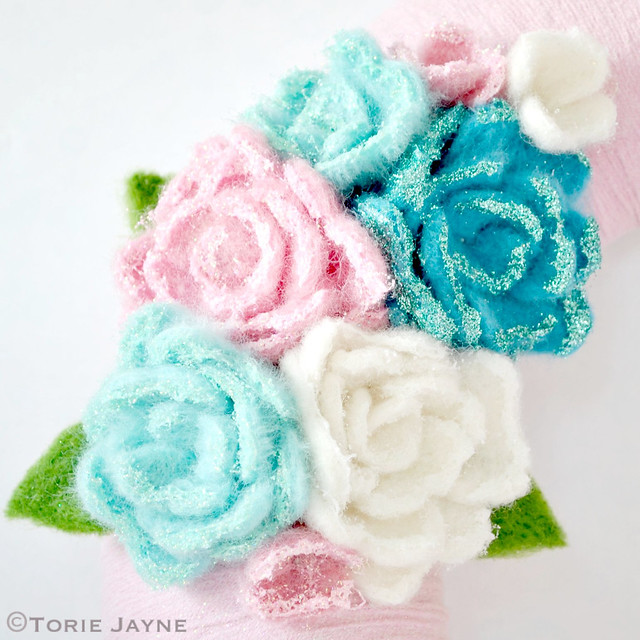 Glittered needle felted roses for my Christmas wreath