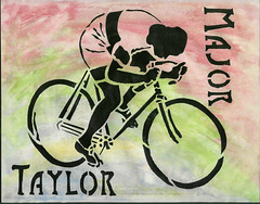 Major Taylor Stencil Art by Janet Bike Girl