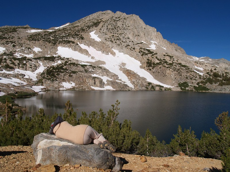 Bishop Pass Trail - resting at Saddlerock Lake