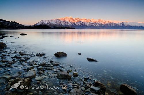 sunset newzealand lake sunrise landscapes queenstown wakatipu newzealandnznewzelandlandscapephotoimages