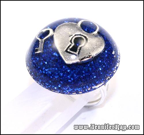 Heart Lock and Key Blue Glitter Resin Ring by JenniferRay.com