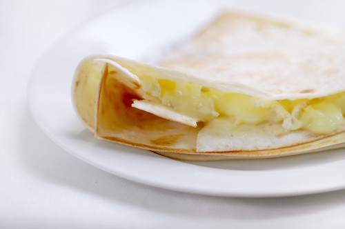 tortilla with camembert and honey
