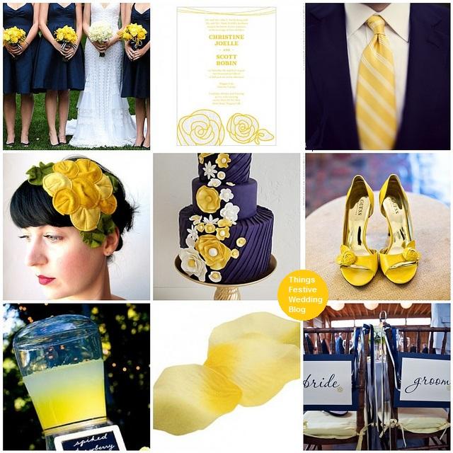 navy and yellow wedding theme university of michigan
