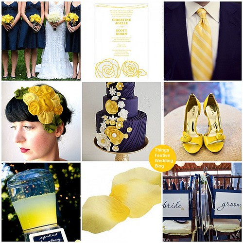 navy and yellow wedding theme
