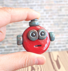 Comission: Mini Robot Head Brooch by HerArtSheLoves