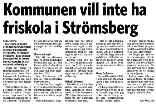 2012-03-22 Artikel i Sydöstran, Kommunen vill inte ha friskola i Strömsberg