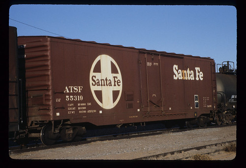6243997293 29a25fde7b ATSF 55319; Class BX 186, 50 Centered Single Plug Door Box Car; Pullman Standard Car Manufacturing Co., 1955; Freight Car; December 1983