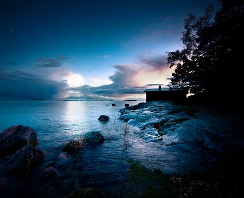 sunset sea sky moon lake nature water suomi finland evening helsinki nikon photshop d300 sakari uutela mäkelä