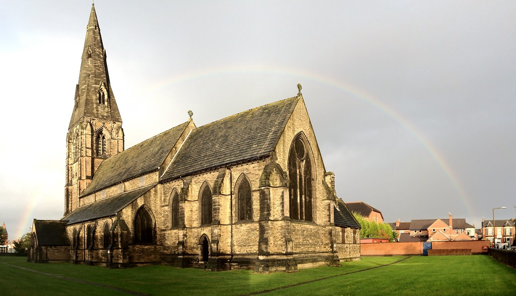 Rainbow over Edgeley Church