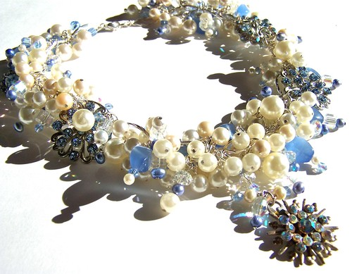 Chunky Pearl & Rhinestone Necklace