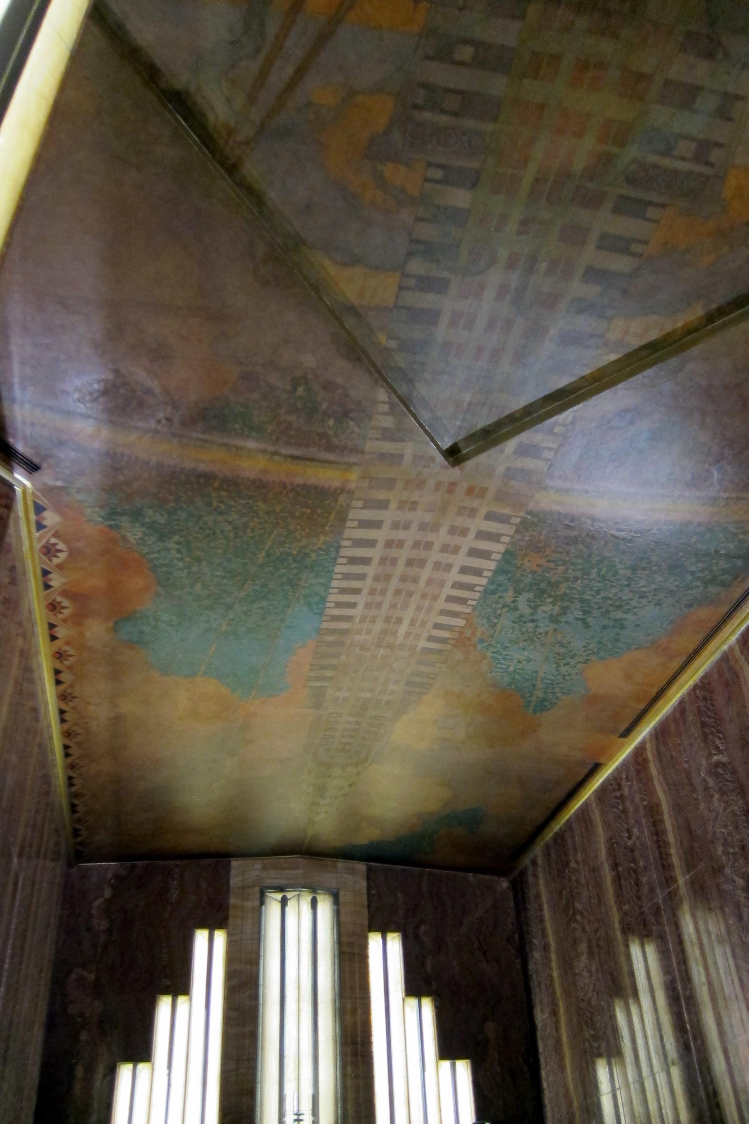 Nyc midtown chrysler building ceiling mural flickr for Chrysler building wall mural