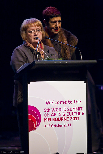 Penny Hutchinson, Director of Arts Victoria and Aunty Carolyn Briggs, Boonwurrung Elder at the official opening of the 5th World Summit on Arts and Culture
