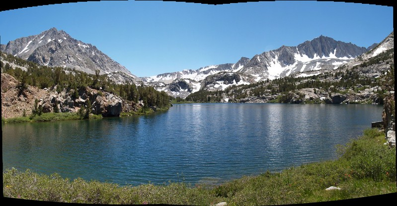 Long Lake panorama looking toward Bishop Pass, Mt. Agassiz on the left, Mt. Goode on the right