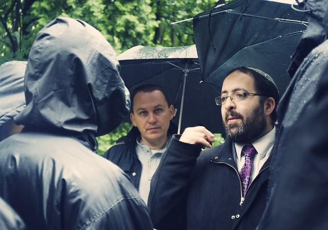 Rabbi in Jewish cemetery, Poland
