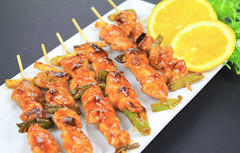 caridean shrimp(0.0), fish(0.0), seafood(0.0), tandoori chicken(0.0), hors d'oeuvre(1.0), brochette(1.0), meat(1.0), produce(1.0), food(1.0), dish(1.0), cuisine(1.0), skewer(1.0), satay(1.0), grilled food(1.0),
