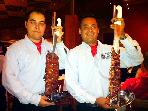 Fogo de Chao Gauchos With Tender Pork Ribs, Chicken + Filet Mignon Wrapped In Bacon! #Vegas #food