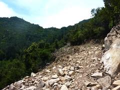Montée du chemin de captage Sud du Mulinelle : le chemin tracé au bulldozer