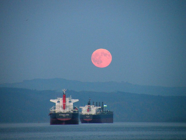 Big Pink Moon Over the Boats