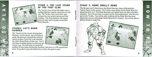 "TIGER ELECTRONICS :: ""NINJA TURTLES: THE NEXT MUTATION"" ELECTRONIC LCD GAME ..INSTRUCTION MANUAL  pgs. 8,9  (( 1998 ))"