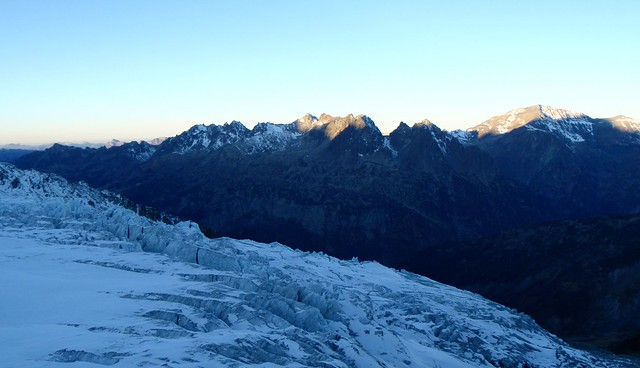 Glacier du Tour and Massif des Aiguille Rouges in the morning