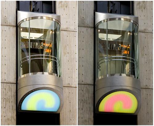 Colour-changing Elevators