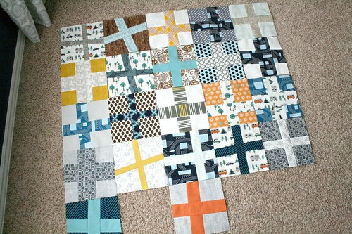 start of wonky crosses quilt