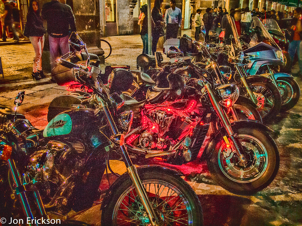 Motorcycles Lit Up