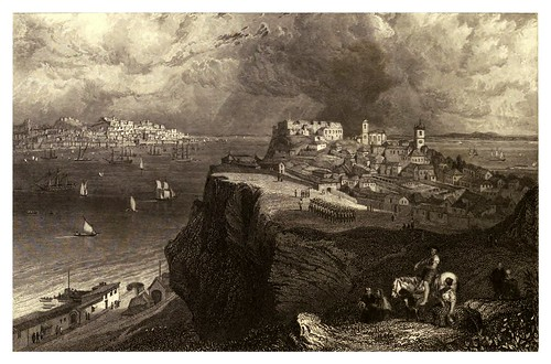 006-Lisboa desde puerto Almeida-Finden's illustrations of the life and works of Lord Byron…1833-William y Edward Finden