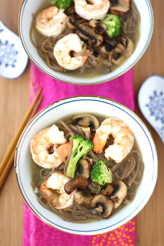 Shrimp, Mushroom & Soba Noodle Soup Recipe