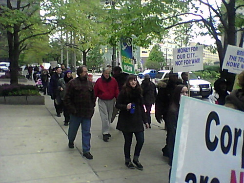 Demonstration through downtown Detroit from the Occupy Detroit site at Grand Circus Park On October 18, 2011. (Photo: Abayomi Azikiwe) by Pan-African News Wire File Photos