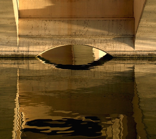 bridge arizona brown yellow architecture composition reflections concrete gold golden beige warm tan goldenhour tempe tempetownlake concretebridge warmtones fantasticlight