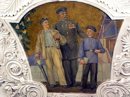 Kievskaya Metro station art work - Josef Stalin as a friend to the people
