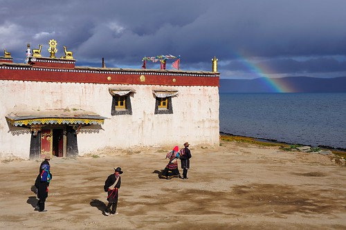 Trugo Gon monastery, Tibetan pilgrims,Manasarovar Lake and like a cherry on top, a Rainbow.