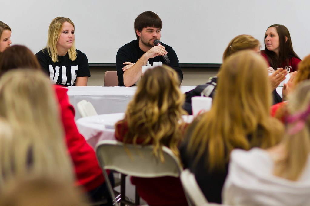 Student Body President and Psychology major Jeremy Gibson participates in a student panel at VIP Day