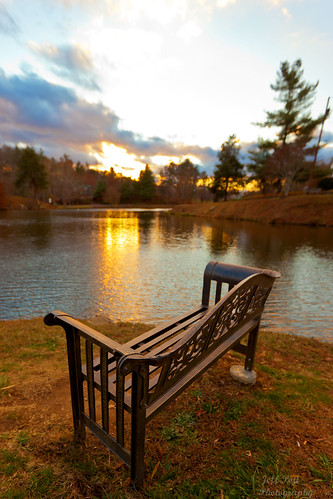 park sunset sky lake reflection water canon bench evening nc cloudy asheville louise weaverville 40d