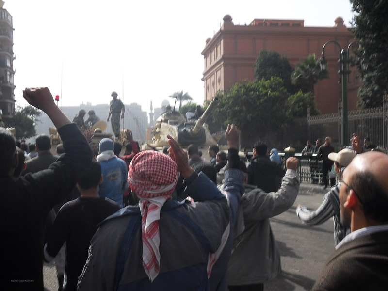 Protesters Approach Army Lines - 29 January 2011