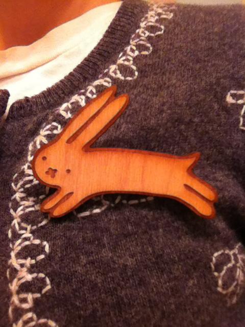 Runaway Bunny Wood Pin that I made.