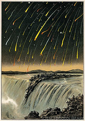 2010. június 18. 17:19 - Leonids of 1833 are a prolific meteor shower associated with the comet Temple-Tuttle. Leonids is a meteor stream left by the comet. The meteorites are moving fast with 72 km/sec. impact speed with bright fireballs expected to be up to 9mm in diameter and 85 g mass. In 1933 the Leonids were truly of superlative strength, here seen at the Niagara Falls.