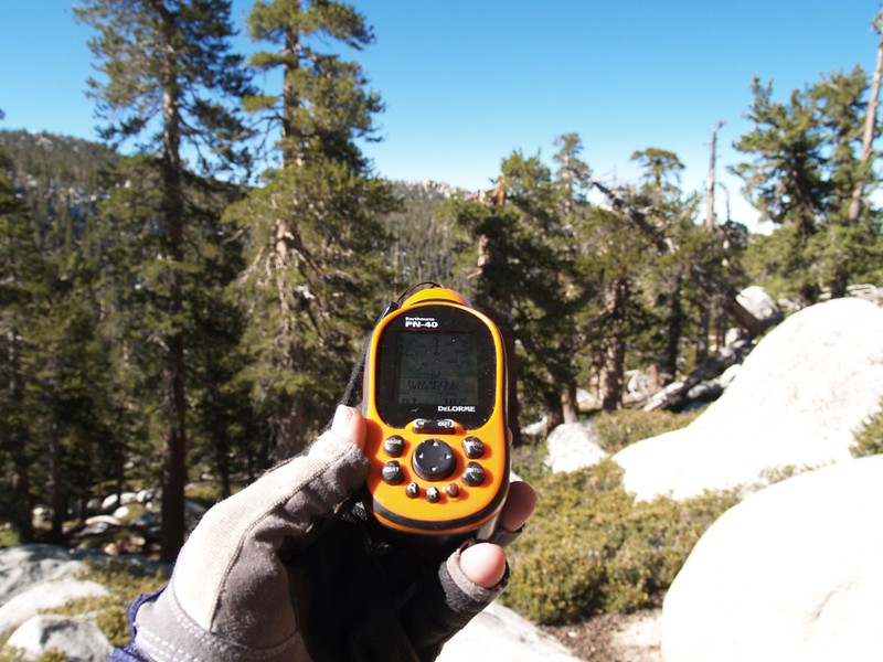 Getting our (GPS) compass bearing toward Marion Mountain fromNewton Drury Peak Saddle