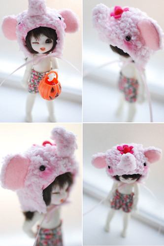 Pukipuki animal hat - pink elephant