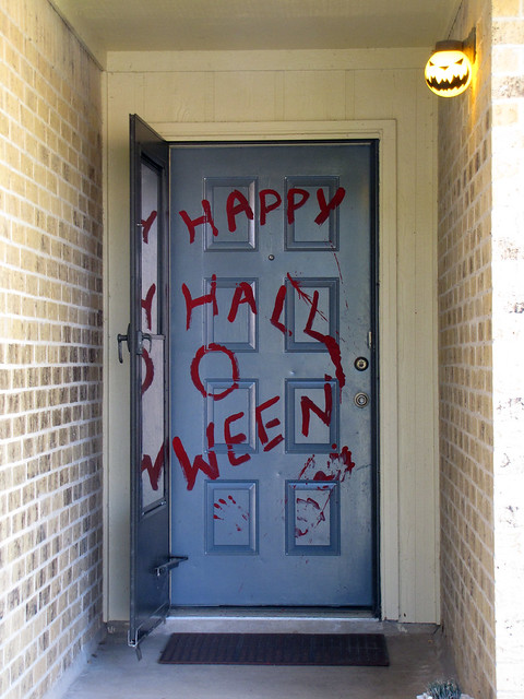 Halloween front porch, day