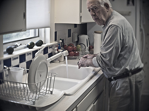 dad whistling whilst washing dishes