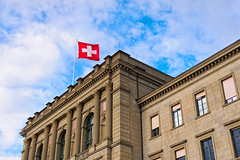 Building with Swiss flag