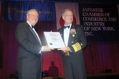"NEW YORK (Nov. 15, 2011) Adm. Patrick Walsh, commander of U.S. Pacific Fleet, is presented the ""Eagle on the World"" award by Steve Forbes on behalf of the Japanese Chamber of Commerce and Industry of New York, Inc. (JCCI) at its 27th Annual Dinner Gala. (U.S. Navy photo)"