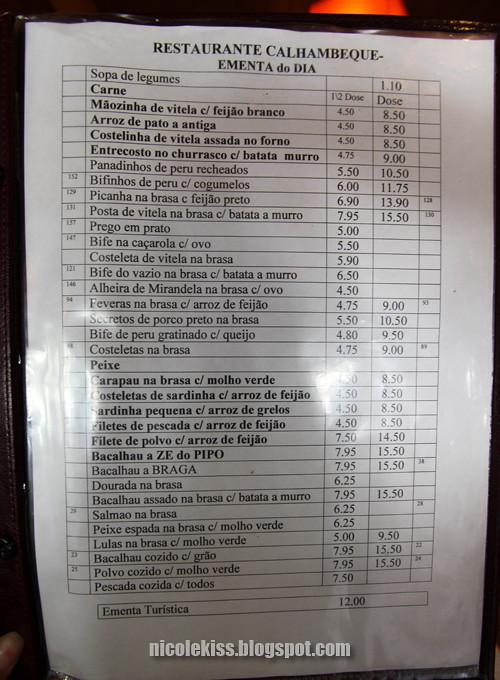 porto restaurant menu