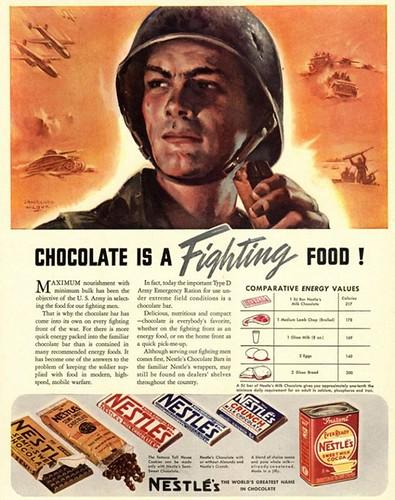 Publicidad de Nestlé: El chocolate es una comida de combate