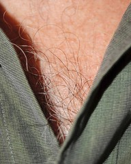 white man's chest hair in a v-neck